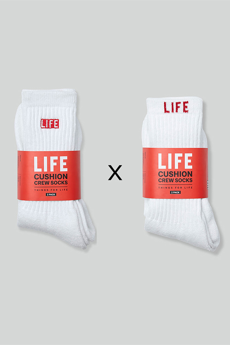 LIFE CUSHION CREW SOCKS_1/1 PACK